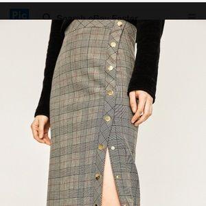Zara Woman Grey Plaid Midi Skirt